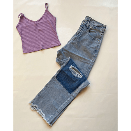 MOM JEANS PATCHWORK