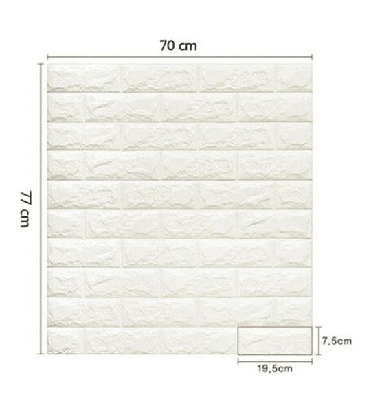 Pack 10 Lamina Papel Mural Pared 3d Ladrillo Blanco