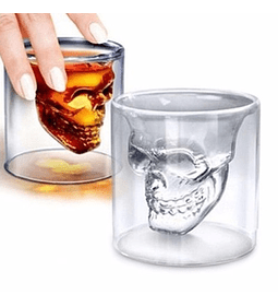 Set 4 Vaso Shot Calavera Vidrio Tequila Cortito