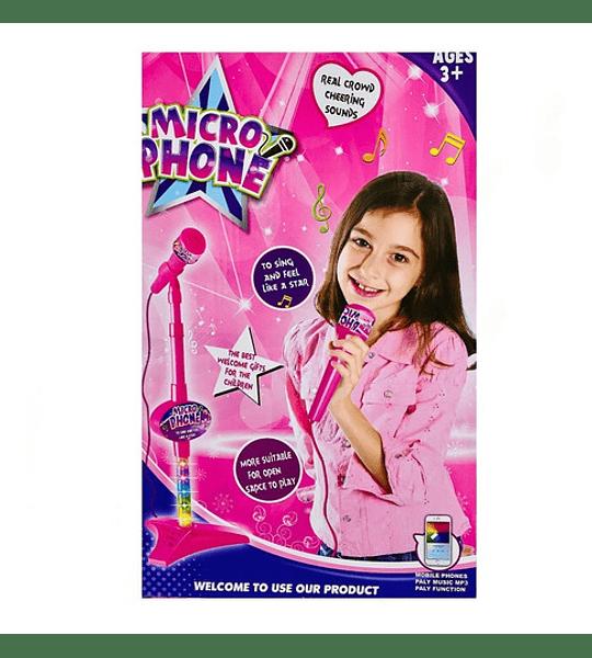 Micrófono Star Party Mp3 Led Pedestal Niñas Niños