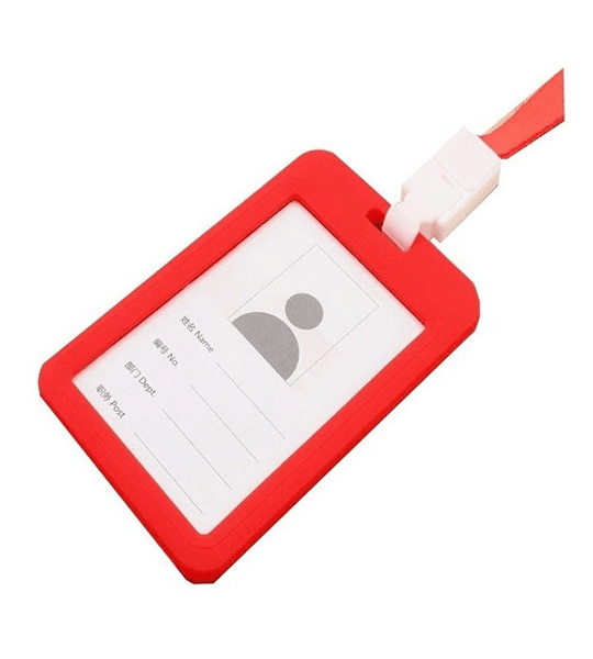 Pack12 Porta Credencial Pvc + Cinta Color Gris