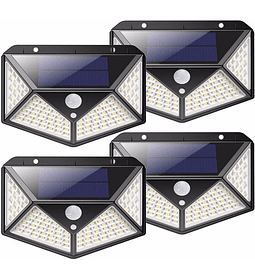 Pack X 4 Lampara Solar 100 Led Exterior Sensor De Movimiento