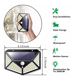 Luz Led Solar Pared Patio Pasillo Sen Movimiento Recargable