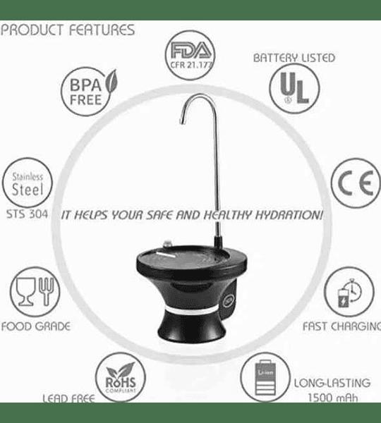 Dispensador De Agua Automatico Recargable Con Base Negro