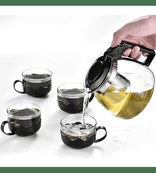 Tetera De Vidrio Infusor Con 4 Tazas De Vidrio Té Bebidas