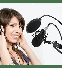 Kit Micrófono Condensador Atril Antipop Aux + Tarjeta Usb