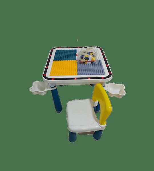 Mesa 4 En 1 Estudio Bloque Construcción Lego Luces led