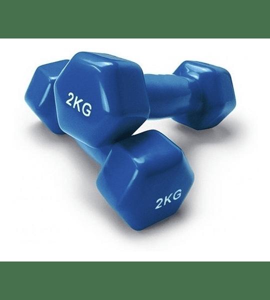Par Mancuernas De Vinilo De 2kg Pesa Fitness Crossfit