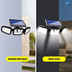 Luz Solar Foco Triple Cabezal Ajustable Sensor Movimientos