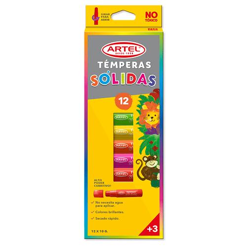 Tempera Solida, Estuche 12 Colores
