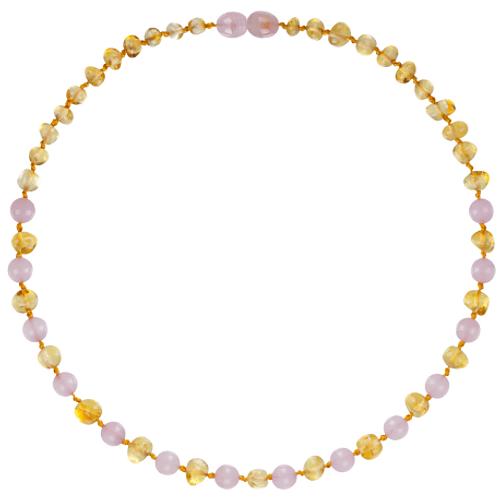 Collar de Ámbar Bebes - Limon / Cuarzo Rosado