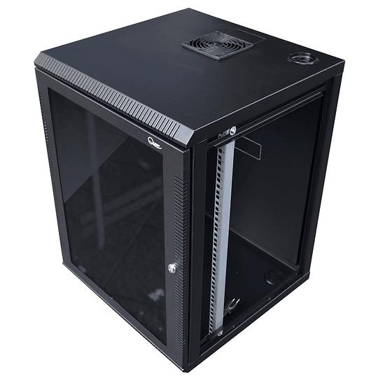 Gabinete de Pared Tapas Laterales Removibles de 11U con Puerta en vidrio • Color: Negro