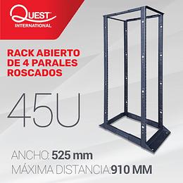 """Rack abierto de 4 Parales en formato de 19"""" de 45U Tuerca Roscada"""