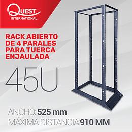 """Rack abierto de 4 Parales en formato de 19"""" de 45U Tuerca Tipo Push"""