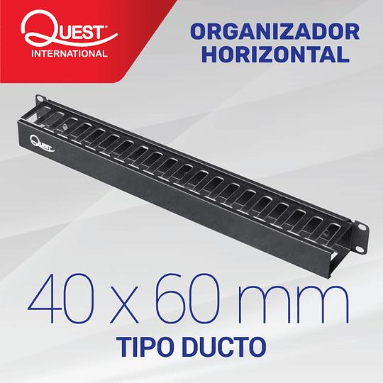 Organizador Horizontal de Cables Tipo Ducto de 40 x 60 mm