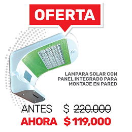 Lampara Solar con panel integrado para montaje en pared