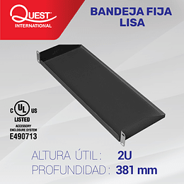 Bandeja Fija Lisa de 2U • Profundidad 381 mm