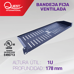 Bandeja Fija Ventilada de 1U • Profundidad: 178 mm