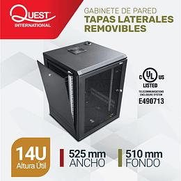 Gabinete de Pared Tapas Laterales Removibles de 14U con Puerta en vidrio • Color: Negro