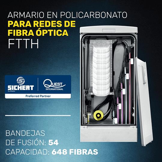 ARMARIO EN POLICARBONATO CON 54 BANDEJAS PARA FIBRA ÓPTICA
