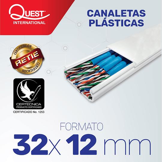 Canaleta Plástica 32 x 12 mm