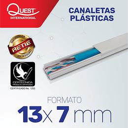 Canaleta Plástica 13 x 7 mm