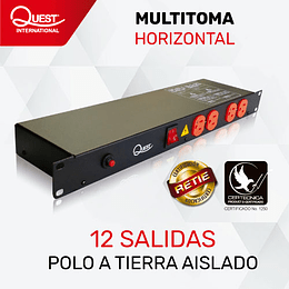 Multitoma Horizontal ( PDU ) de 12 entradas NEMA 5-15R Polo aislado a tierra