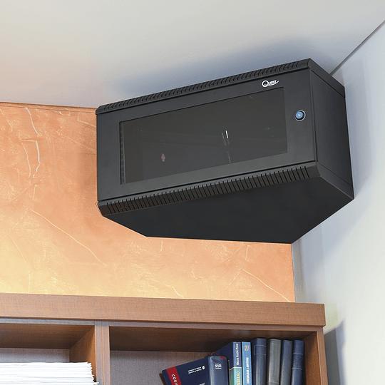 Gabinete de Pared Compacto Triangular de 5U con Puerta en vidrio • Color: Negro