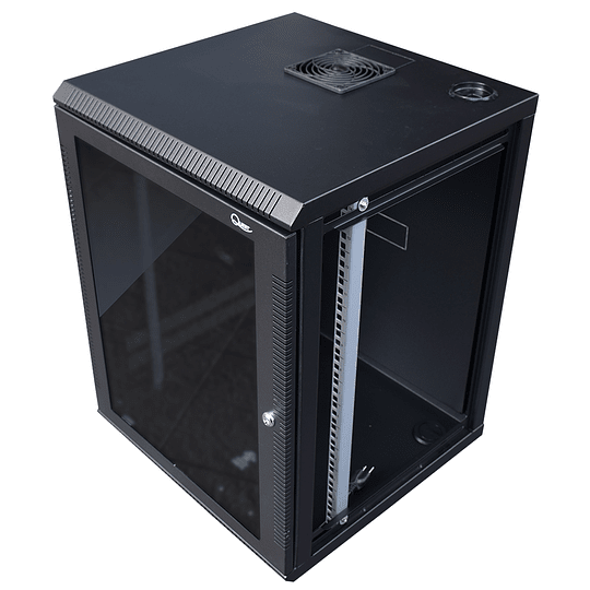 Gabinete de Pared Tapas Laterales Removibles de 16U con Puerta en vidrio • Color: Negro