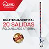 Multitoma Vertical de 20 entradas NEMA 5-15R Polo aislado a tierra