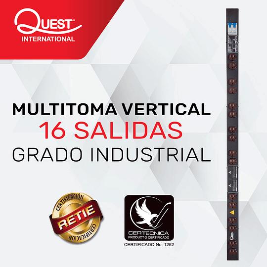 Multitoma Vertical de 16 entradas NEMA 5-15R Grado Industrial