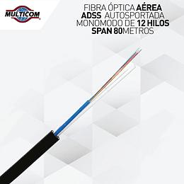 Fibra Óptica Aérea ADSS Autosoportada Monomodo de 12 Hilos Span 80 mts - Uso Exterior | Carrete de 4,000 mts