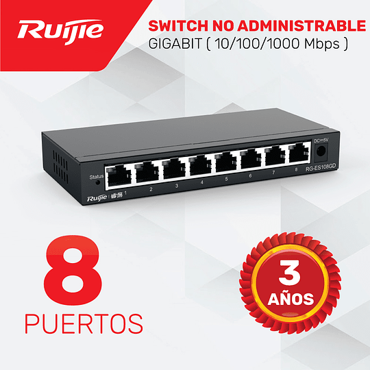 Switch no Administrable de 8 puertos Full Gigabit