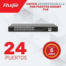 Switch de 24 Puertos Gigabit  PoE • Administrable Capa 2
