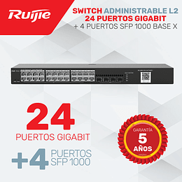Switch de 24 Puertos Gigabit + 4 Módulos SFP 1000 Base X • Administrable Capa 2