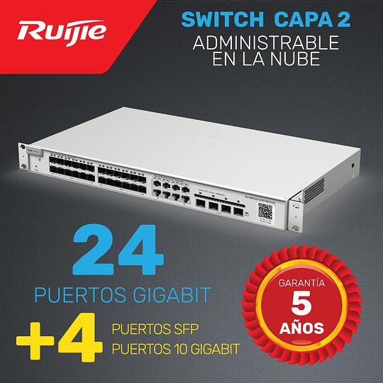 Switch de Enlace ascendente Capa 2 con Puertos 10G · 24 Puertos Gigabit + 4 Puertos 10G + 4 puertos SFP | Administrable en la nube