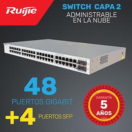 Switch de Enlace ascendente Capa 2 | 48 Puertos Gigabit + 4 puertos SFP  | Administrable en la nube