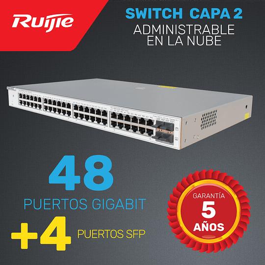 Switch de Enlace ascendente Capa 2   48 Puertos Gigabit + 4 puertos SFP    Administrable en la nube