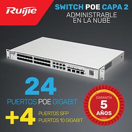 Switch POE de Enlace ascendente Capa 2 con Puertos 10G · 24 Puertos Gigabit + 4 Puertos 10G + 4 puertos SFP | Administrable en la nube