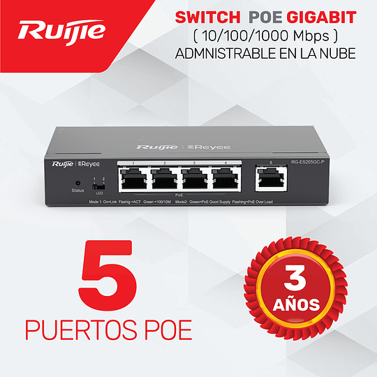 Switch de 4 puertos (PoE/PoE+) 10/100/1000 + 1 puerto 10/100/1000 Base T