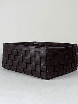 LEATHER WOVEN BASKET
