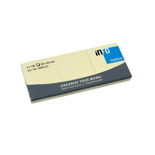Bloco Adesivo Amarelo 50x40mm 100 folhas - Pack 3un