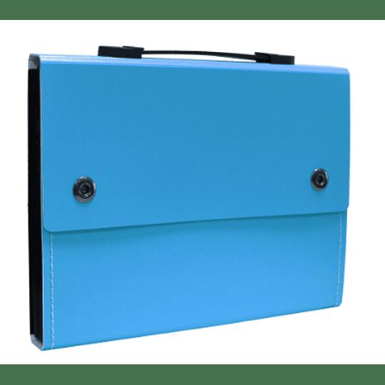 Mala portfolio c/12 divisórias (preta e azul)