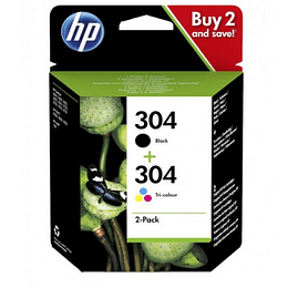 Pack Tinteiros Originais HP 304 Preto/Tri-color