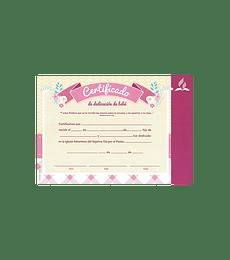 Certificado de Dedicacion niña (rosado)