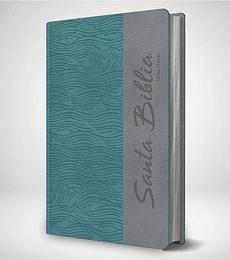 Biblia RVR 95 LG - Damas - Celeste con olas estampadas y gris