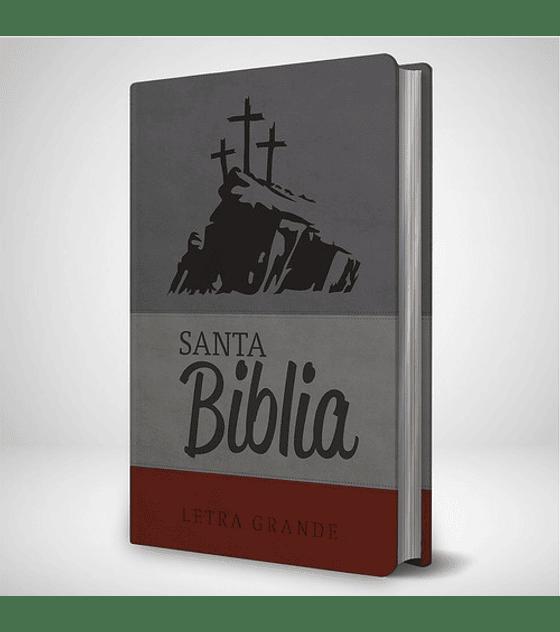 Biblia RVR 95 LG - Gris con Cruces estampadas y marron