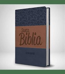 Biblia RVR 95 LG - Azul estampados y marron