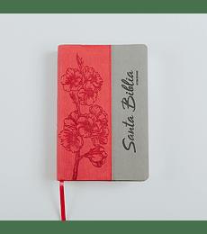 Biblia RVR 95 LG - Damas - Rosa con flores estampadas y gris