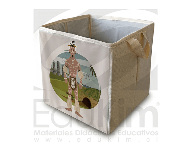 Caja plegable diseño Rapa Nui Hombre 26 cm